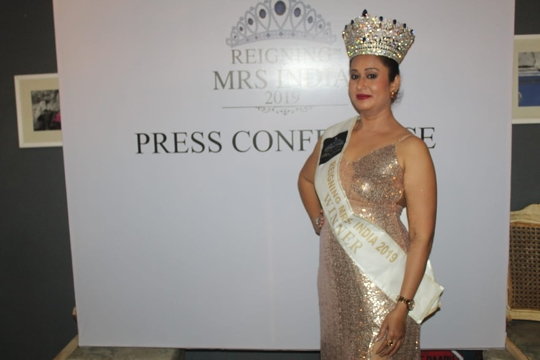 Press Conference Of Monica Shaikh's REIGNING MRS INDIA 2019 At Thikana In Pune