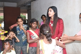 Actress Khushi Shah Celebrated Diwali With Poor Children Distributes  Sweets  And Clothes