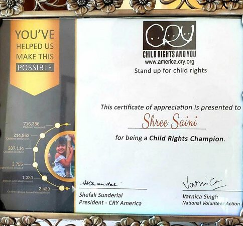 Miss World Washington Shree Saini Honored with Child Rights Champion Award for her Social Work